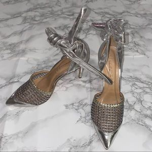 Anthropologie Vicenza Silver Pointed Toe Heels